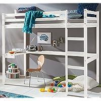 Preisvergleich für Kinder Hochbett mit schreibtisch Etagenbett massiver Kiefer 90x200 cm (Weiss)