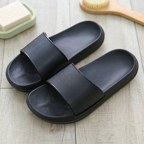 fankou bella estate anti-slittamento di un paio di pantofole fresco morbido interno soggiorno inferiore femmina bagno Home ciabatte da bagno uomini e,35-36, nero