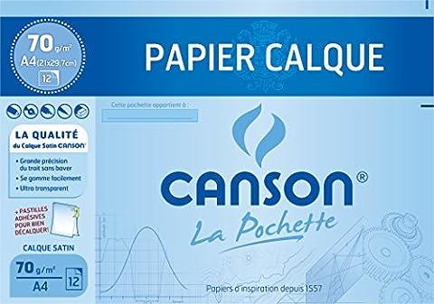 Canson Pochette Papier calque satiné 12 feuilles 70 g A4 Translucide