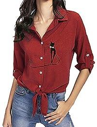 Yesmile Mujer Camisetas❤️Las Mujeres Camisa Camisa de Dobladillo Anudada del Gato del Gato Bordado de Las Mujeres Blusas de botón de la Blusa de Manga Larga
