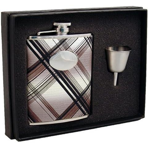 Visol Stellar Leather Liquor Hip Flask Gift Set, 6-Ounce, Black and White by Visol - Liquor Flask Gift Set