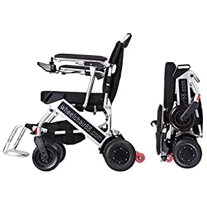 The lightest & most compact power chair in the world, Foldawheel PW-999UL at only 45 lbs (comes with Extendable Footrest + travel bag + Polymer Li-ion Battery) . Motorized, foldable in few seconds.