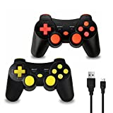 2 Stück Wireless Controller für PS3, Bluetooth Dual Vibration Gamepad Sixaixs (6-Achsen) Joypad für Sony PS3 PlayStation 3, Ladekabel Inklusive