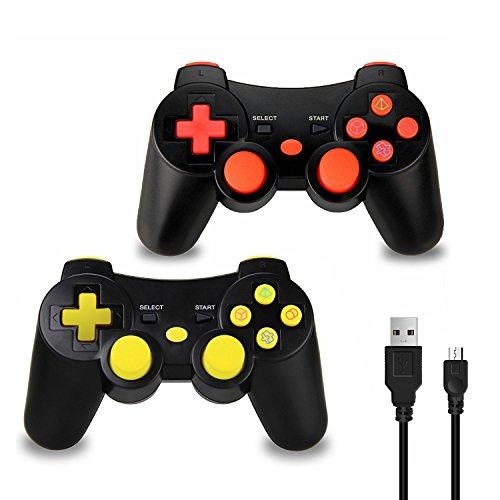 Vniqloo 2 x Mandos Inalámbrico Bluetooth Controller Doble Vibración para Sony PS3 Playstation 3 con Funciones SIXAXIS (Rojo/Amarillo)