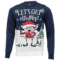 Idea Regalo - uomo Natale maglione Threadbare Albero Di Natale Babbo Natale MAGLIA PUPAZZO DI NEVE Rudolph ELFO NUOVO - Navy - imx006pka, X-Large