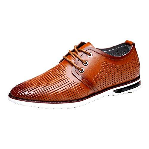 Sandali uomo casual in pelle Inghilterra Hollow scarpe tendenza Sandali traspirante Yellow