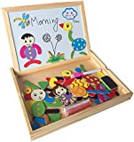 Fajiabao Best Gifts for Kids Funny Creative Wood Drawing Writing Double Side Board Puzzle Magnetic Jigsaw Puzzle Early Educational Learning Games Toys for Boys Girls