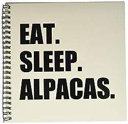 3dRose db_180379_1 Eat Sleep Alpacas Funny Random Animal Love Text Fun Humor Humorous Drawing Book, 8 by 8-Inch