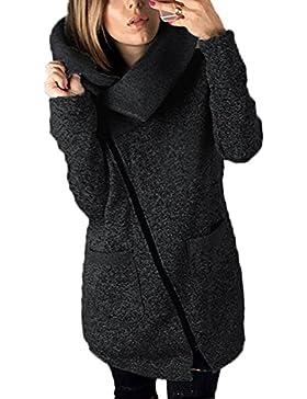 Mujeres de talla grande Casual Zip Up Fleece Prendas de abrigo Chaquetas Abrigos Parkas con bolsillos