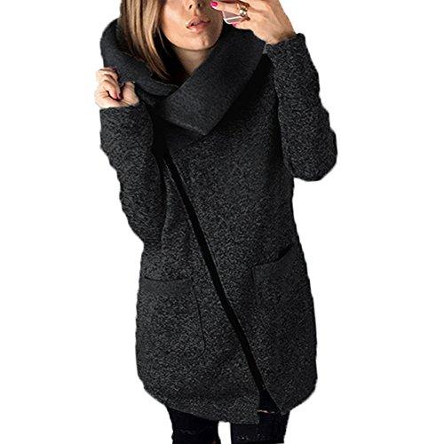 Parka Veste à Capuche Pull à Manches Zip Jacket Longues Automne et Hiver Femme Gris Foncé