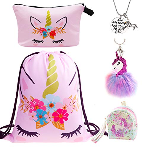 rn Geschenke für Mädchen Unicorn Kordelzug Rucksack/Make Up Bag/Halskette/flauschige Schlüsselanhänger/Armband Geschenk-Sets für Party Weihnachten ()