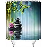 Cortina de ducha de tela de bambú con piedras negras. Spa Decor Kin por Nicola, resistente al agua baño Zen diseño de jardín Decor vista para mágico y lujoso baño