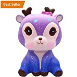 UPXIANG SUPER Lovely 11cm Galaxy Deer Rex Squeeze Toys Squishy Jumbo Collection, Cream Scented Squishy Super Slow Rising Squeeze Strap Kids Toy Gift Adults Stress Relief Soft Doll Toy (Galaxy Deer)