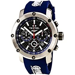 TW Steel Men's Quartz Watch with Black Dial Chronograph Display and Blue Silicone Strap TW925