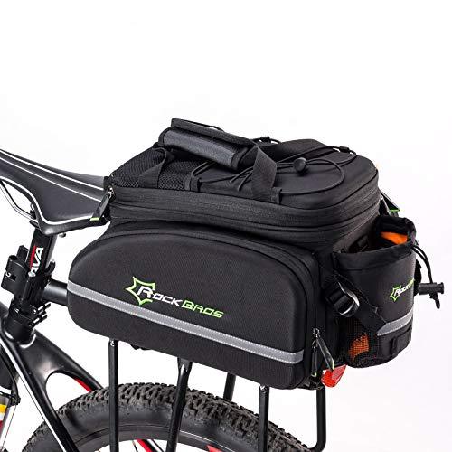 ROCKBROS Fahrrad Gepäckträgertasche Hinter Satteltasche Fahrradtasche mit Regenschutz Transporttasche Reflektierend (Schwarz)
