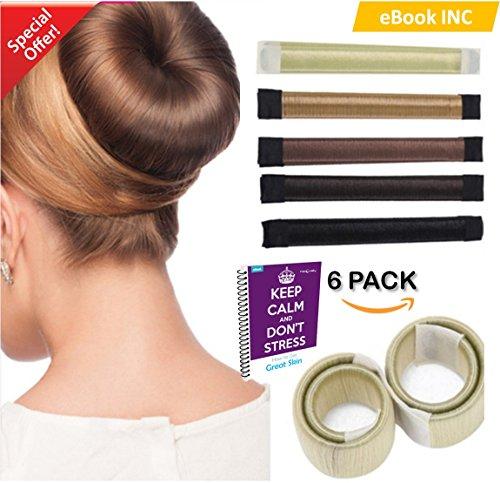 Preisvergleich Produktbild Prämie 6 Pack Mädchen Damen Hair Styling Tool Donut Hair Bun Maker [braun] French Twist Haar Brötchen Styling Braid Halter Werkzeug ** BONUS 6 HAAR BANDS & 6 HAAR GRIPS KOSTENLOS