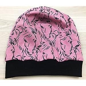 Beanie Mütze Pferde rosa, Kopfumfang 48-53 cm