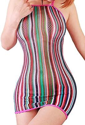 FasiCat Mini vestido para mujer elá stico colores del arcoiris moderno multicolor Arco Iris Talla única