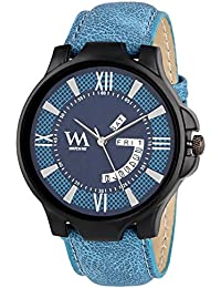 Watch Me Day And Date Watches For Mens Stylish Analog Blue Dial Blue Leather Strap Quartz Watch For Men And Boys...