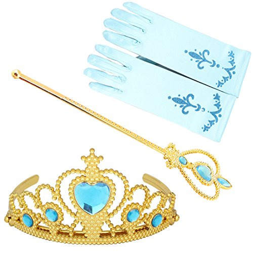 Prinzessin Zauberstab,Queen Krone,Strass,Tiaras & Handschuh Mädchen Geschenk-Set Prinzessin Karneval Verkleidung Party Cosplay Mädchen Handschuhe Halloween