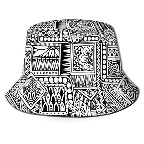 Unisex Summer Fisherman Cap,Ethnic Design with Some Geometrical Shapes with Leaves and Dots African Culture,Travel Beach Outdoor Sun Hat -