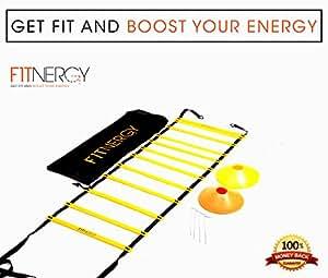 Attrezzatura per la velocità e l'agilità da F1TNERGY - Borsa da trasporto 12 Rung Ladder gialla + 10 coni di velocità + 4 allenamento per il calcio e pioli per D Maschera da hockey su ingranaggio