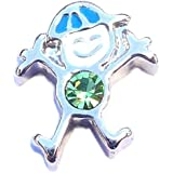 August birthstone BOY - 9mm floating charm fits Living memory and Origami Owl style lockets