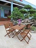 Charles Bentley Garden Hardwood Furniture Patio Rectangular Table & 4 Chairs 5Pc Set