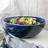 YINUO Keramik Extra große Kapazität Rührschüssel Suppe Ramen Schüssel Obstsalat Servierschüssel Ofen Mikrowelle sicher Haus Geschirr 10,2 Zoll blau
