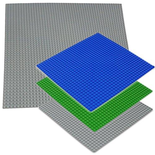 Katara 1672 - Platten Bauplatten 4er Set, 1 x 40cm + 3 x 25,5cm, Kompatibel Lego Sluban Papimax Q-Bricks, Grau Blau Grün