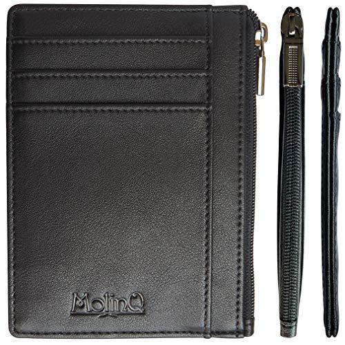 Piccolo portafoglio per uomo con cerniera per monete e finestra per d'identità   porta carte di credito con protezione rfid   portafoglio nero con pacco regalo