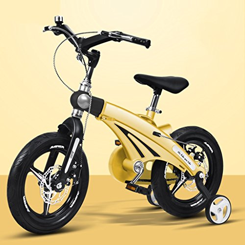 Qiangzi Neues Modell 3 Rad Baby Dreiräder Einstellbare Kinder-Bike 3-jährige Baby-Kinderwagen 12/14/16 Zoll Kind Fahrrad Fahrrad Mountain Bike Bestes Geschenk für Kinder ( Farbe : Gelb , größe : 12 inches )