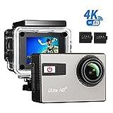 VTIN [Caméra Sport 4K Wifi] Caméscope Sportive UHD avec Capteur Sony IMX117 Exmor R Caméra d'Action 20MP Étanche Sous-Marin 30m et 2 Batterie Incluses