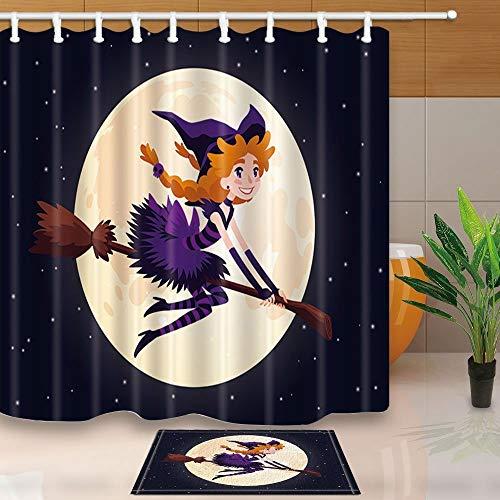BuEnn Dekorationen von Halloween Cute Redhead Hexe Che fliegt auf eine Besen Luna 71 x 71 in beständig für die Muffe aus Polyester für die Dusche von 15.7 x 23.6in Badematte rutschhemmend