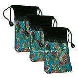 3x Asiatische Handytaschen aus Seide & Samt Tasche Beutel Schmuckbeutel Kosmetik TaschenTäschchen türkis rot schwarz 4374