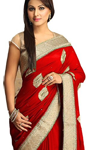 Mordenfab Akshara Embroidered Bollywood Gergotte Saree With Blouse (Red)