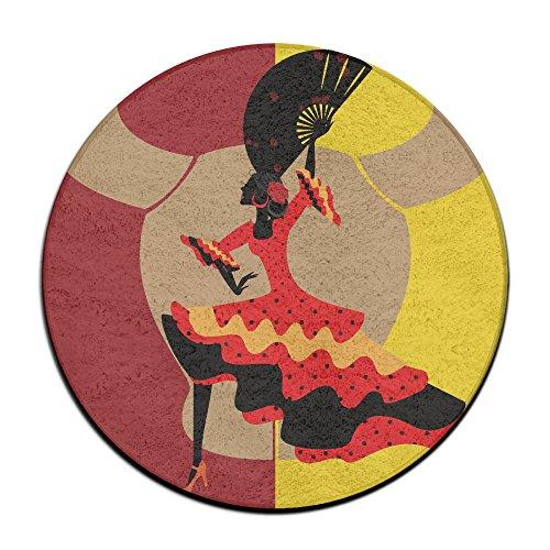 Runde Fußmatte mit dem Motiv einer spanischen Tänzerin, 60 cm Durchmesser, dekorativer Teppich, für den vorderen Eingangsbereich geeignet, ideal für Herren und Damen