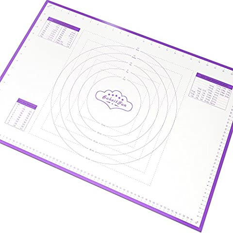 BakeitFun Large Silicone Pastry Mat With Measurements | 66 x 46 cm | FDA and LFGB Approved | Full Sticks To Countertop For Rolling Dough | Conversion Information Included |