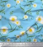 Soimoi Blau Viskose Chiffon Stoff Blätter & Daisy Blumen-