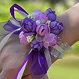 Lamdoo - 2 ramilletes de muñeca, con flores de tela y cintas, ideal para bodas, fiestas, para niñas, damas de honor, color rojo.