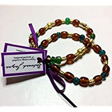 Two Complimentary Unique Multi Bead Stretch Bracelets, Teal, Brown, Gold Tone & Green, Boho Chic, Recycle with Style, Ethical Jewellery