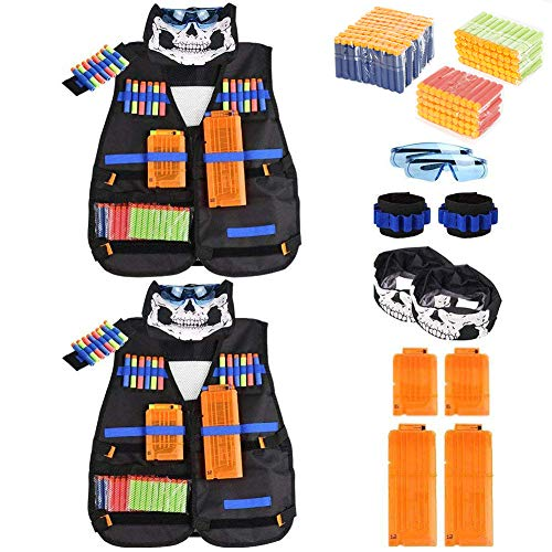 INKERSCOOP Kids Tactical Weste Kit Nerf Guns N-Strike Elite Serie für Jungen Nerf Battle Game, 200 Darts + Schutzbrille + 4 Quick Reload Clips + 2 Face Tube Maske + 2 Hand Wrist Bands