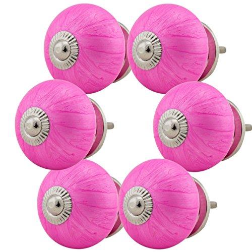 Möbelknopf Möbelknauf Möbelgriff Set Nr.86 6er pink Keramik Porzellan handbemalte bunte Vintage Möbelknöpfe für Schrank, Schublade,...