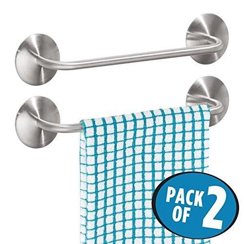 Preisvergleich Produktbild mDesign 2er-Set Handtuchhalter ohne Bohren – selbstklebende Handtuchstange aus gebürstetem Edelstahl – perfekt als Geschirrtuchhalter oder für Handtücher – mattsilberfarben
