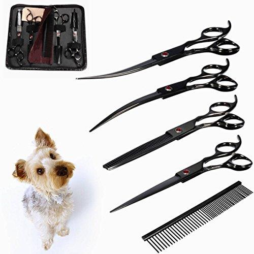 KING DO WAY 4pcs Animali domestici Cane Gatto Capelli Shear Repair Tool forbici bellezza cosmetologia forbici governare set con pettine 7 ''