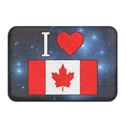 I Love Canada Flag Heart Non-Slip Outside/Inside Floor Mat for Health and Wellness Toilet Entrance Rug 23.6