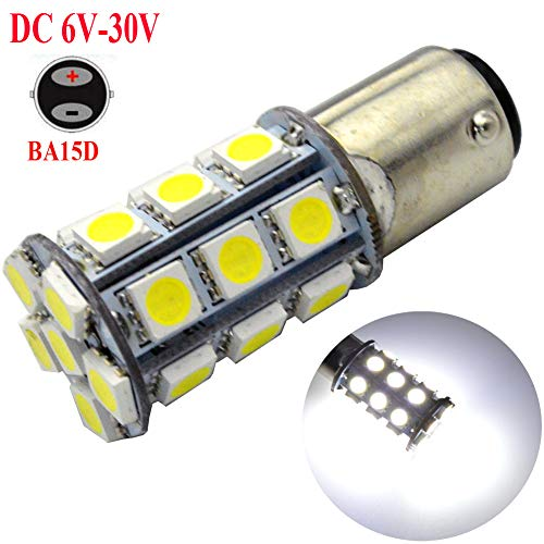Ruiandsion Lot de 2 ampoules LED BA15D super lumineuses 6-30 V 5050 27 SMD LED clignotants de recul 6000 K Blanc