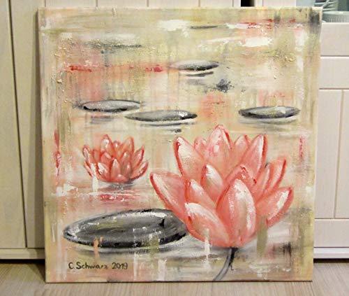 SEEROSEN abstraktes Acrylgemälde auf Leinwand 50cm x 50cm, Kunst Bild Original mit goldfarbigen Metalliceffekten