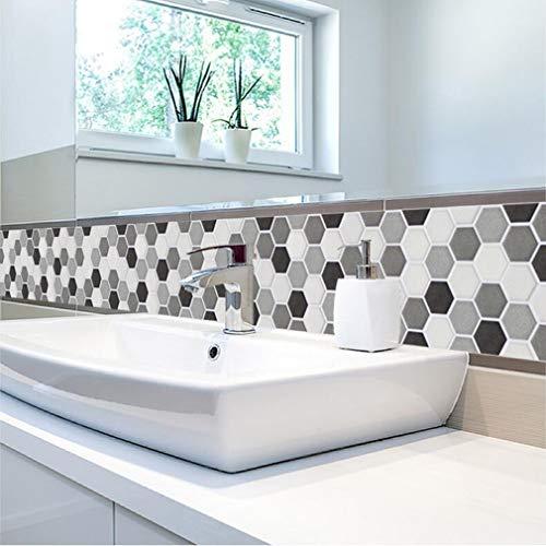 Stickers carrelage Cuisine Art Noir et Blanc Stickers muraux de Briques de Fleurs imperméables à la Fleur, 20 * 100cm*1pcs
