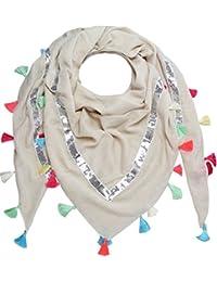 caripe XXL großer Damen Schal quadratisch Halstuch oversized Punkte Paisley Stern Feder Nieten - PS - Glitzer